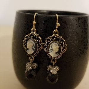 Gold and Black Cameo Earrings